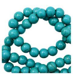 Keramiek kralen donker blauw-groene turkoois kleur, 6mm. Per 5 kralen