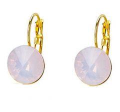 Oorbellen goudkleurig met Rose water opaal  kraal