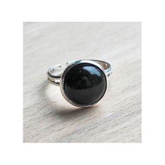 Ring met zwarte Agaat steen, mt 17, verstelbaar