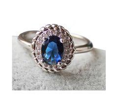 Ring met saffierblauwe zirkonia steen, maat 18
