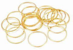 Tussenzetsel of hanger goudkleurige gesloten ring, 35mm. Per stuk.