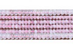 Kraal rondel Rozekwarts 8x5mm, per 10 stuks.