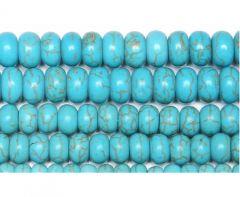 Kraal rondel Turkoois blauw 8x4mm. Per 10 stuks.
