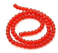 Snoer transparant ronde rode glaskralen 4mm