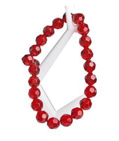 Kraal facetgeslepen glaskraal rond, licht siam rood, 12mm.