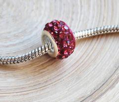 Pandora style kraal donker roze met kristal