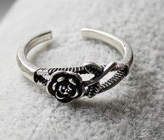 Ring zilver met roosje, aanpasbaar