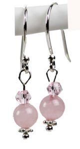 Oorbellen Rozekwarts met bicone, zilveren oorhaakjes