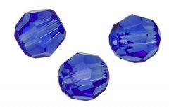 Glaskraal facetgeslepen AAA kwaliteit 6mm Saffier Blauw. Per stuk.