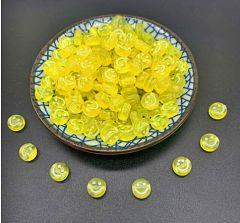 Acryl kralen Smiley geel/zwart 7mm, per 25 stuks.