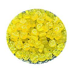 Smiley geel/wit transparant 8x8mm, per 10 stuks.
