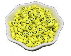 Acryl kralen Smiley licht geel met zwart 7mm per 25 st.