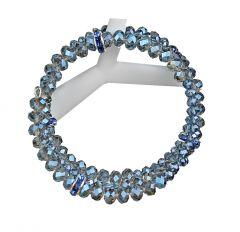 Armband spiraal facetgeslepen Swarovski style blauwe kralen 6x4mm