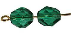 Glaskraal facetgeslepen AAA kwaliteit 8mm Emerald groen, per stuk.