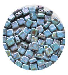 2-gaats vierkante kraal 6x6mm, Alabaster blue luster . Per 20 stuks.