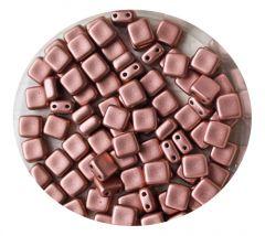 2-gaats vierkante kraal 6x6mm, Vintage Copper . Per 20 stuks.