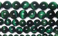 Snoer Tijgeroog kralen groen 6mm.