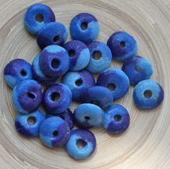 Glaskraal Afrikaans, blauw. 15mm. Per stuk.