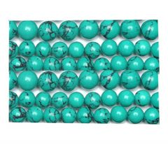 Zakje groene turkooiskleur Howliet kralen, 6mm 50 stuks.