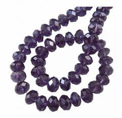 Snoer facetgeslepen rondel diep violet met AB coating,  6x4mm.
