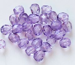 Glaskraal facetgeslepen lila 3mm. Per 50 stuks.