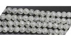 Glaskralen zakje transparant witte crackle kralen 6mm