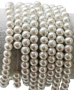 Glasparel kralen wit met glans 4mm, per 60 stuks