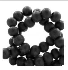 Houten kralen zwart 6mm, per 100 stuks.