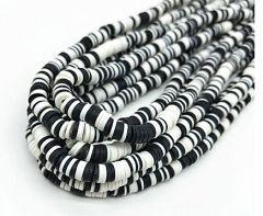 Snoer Katsuki of polymeer klei kralen Zwart-wit 6mm