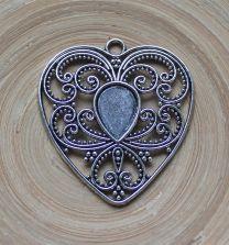 Hanger barok hart van 50x50mm (zonder plaksteen)