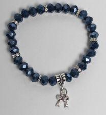 Armband donkerblauwe swarovski style kristal kralen met bedeltje 02c