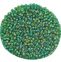 Rocailles regenboog groen 8/0. Per 10 gram.