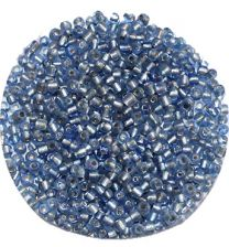 Rocailles blauw zilver 12/0. Per 10 gram.