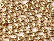 Metal look disc kralen 6x2mm goudkleurig, per 50 stuks.