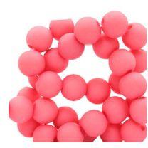 Acryl kralen mat roze/rood 8mm. Per 100 stuks.