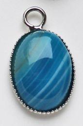Hanger Agaat blauw gestreept 20x15mm