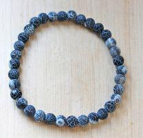 Armband Agaat zwart 6mm frosted