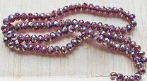 Snoer facetgeslepen rondel medium purple met AB coating, 6x4mm