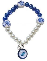 Kinderarmband Blauw en Wit met klompjebedel