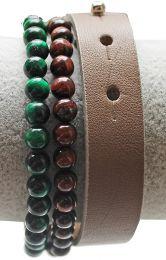 Armband leer taupe kleur met sluiting, heren. 18-24cm.