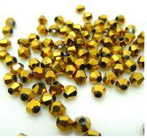 Bicone kristal kraal goudkleurig 4x4mm