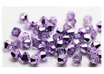 Bicone kristal kraal lila met plating, 4x4mm.
