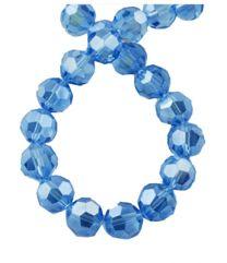 Snoer facetgeslepen helder lichtblauwe kralen met parelglans, 4mm.