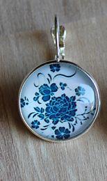 Oorbellen Blauwe Bloem 18mm