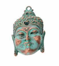 Hanger Buddha koper met turkoois 45x30mm