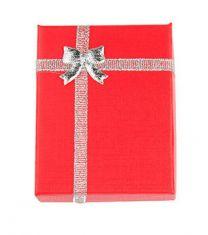 Cadeau doosje rood met zilver voor ketting of armband  9x7x3cm. Per stuk.