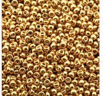 Rocailles 11/0 Miyuki Galvanized gold, 10 gram.