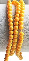 Glaskralen rond opaque geel 6mm. Per 50 stuks.