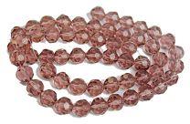 Kraal facetgeslepen ronde glaskralen, roze/amethist 12mm.
