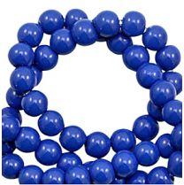 Glaskraal rond helder blauw opaque 6mm. Per 50 stuks.